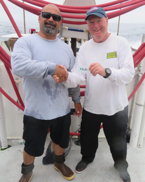 BIG FISH HONORS for the charter went to Rene Rodriguez for his yellowtail taken on day one. The angler won a $100.00 gift card from HUK Gear for his efforts.
