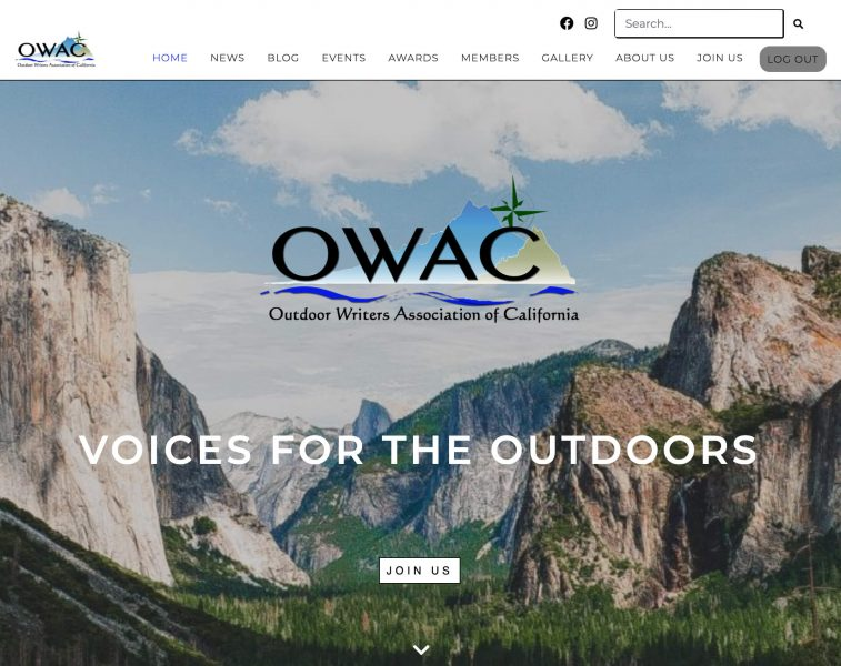 The new OWAC homepage, which will evolve over time.